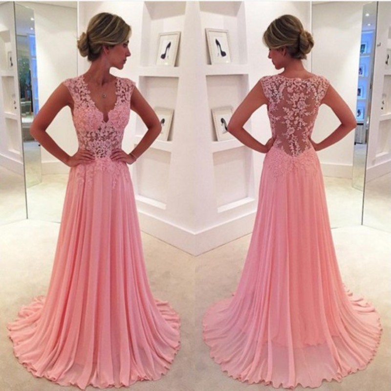Vestido De Festa Sexy V Neck Prom 2018 Custom Appliques Lace See Through Back Evening Party Gown Mother Of The Bride Dresses