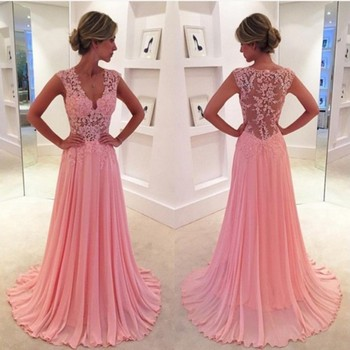 Vestido de festa Sexy V Neck Prom 2018 Custom Appliques Lace See Through Back Evening Party gown mother of the bride dresses short prom gown 2018 custom sexy women a line v neck beaded lace long sleeve vestidos de formatura mother of the bride dresses