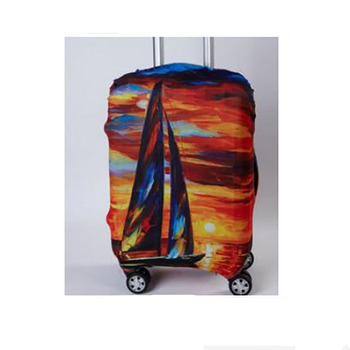 Elastic case cover luggage trolley protective dust oil painting style series