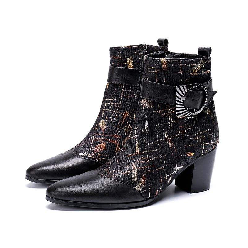 Europe America Winter Pointed-toe Buckle Zip Ankle Boots Red High Heel Graffiti Walking Boots Fashion Rough Martin Boots