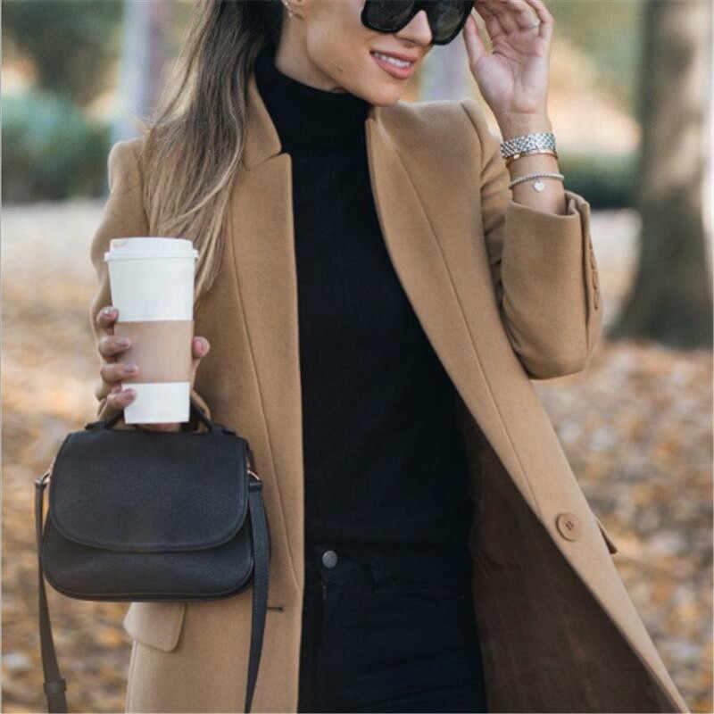 2019 Vrouwen Winter Officewear Lange Blazer Grote Wollen Jas Warme Lange Koreaanse Elegante Wijn Cape Grey Coat Vest Overjas