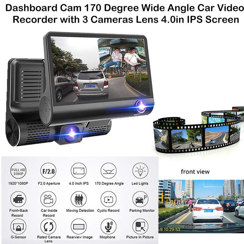 "4"" Car Dvr Cameras Dual Lens With Rearview Camera Video Recorder Auto Registrator Dvrs 170 Degree Wide Angle Dash Camera"