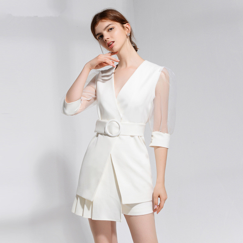 Elegant V-neck White Blazer With Belt Mesh Three Quarter Sleeve Office Ladies Two Piece Sets Dress Suit Fashion Clothes Vestidos