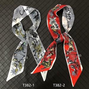 Раннего 2021 новинка, верхняя одежда для детей с рисунком на молнии; Женские дизайнерские небольшой шарф вязки сумка ручка ленты модная повязка для волос