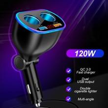 120W Dual Cigarette Lighter Car Charger 4 In 1 QC 3.0 LED Car Socket Splitter 12V 24V Vehicel Fast Chargers for Most Cars Phones