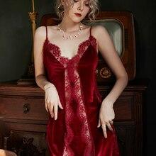 Otoño/Invierno Sexy camisones terciopelo encaje tentación Vintage mujer ropa de dormir ropa interior boda noche Sling camisón Nighty