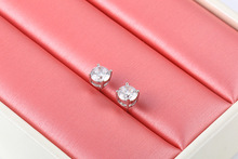 Fashion zircon ladies earrings gold-plated four-claw solitaire simple fashion jewelry