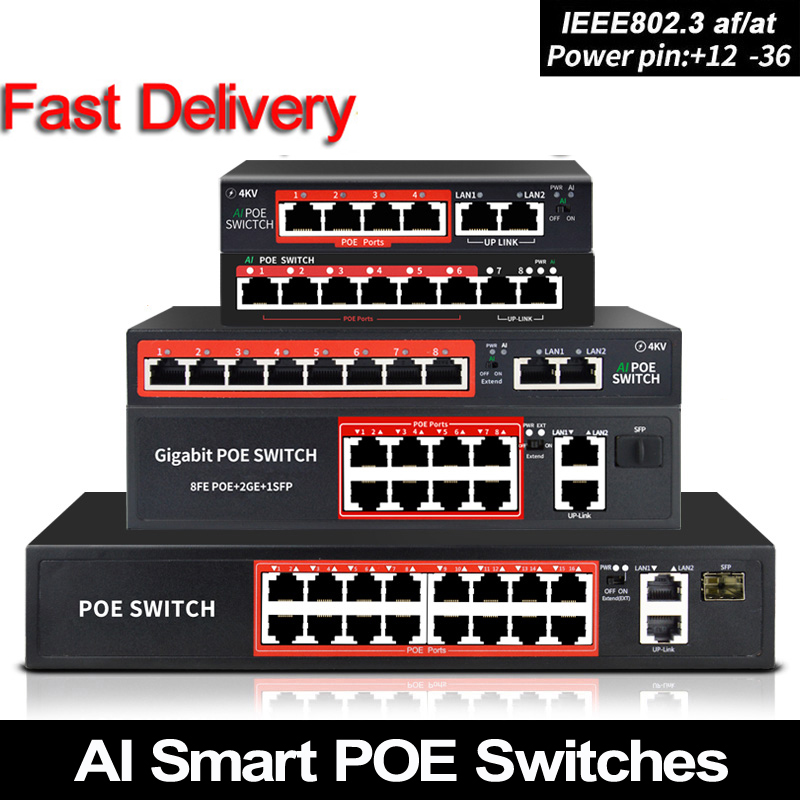 Interruptor de 48v poe com alívio de porta rj45 padrão 802.3 af/na 4 portas/interruptor de rede de 8 portas ethernet com 10/100mbps para câmeras poe