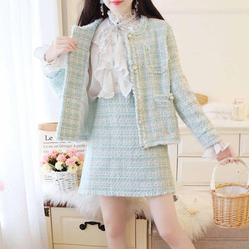 Fashion Week 2019 Autumn Women Tassels Tweed Two-piece Suite Grace Single-breasted Nail Bead Coat Top+Mini Short Dress Suit