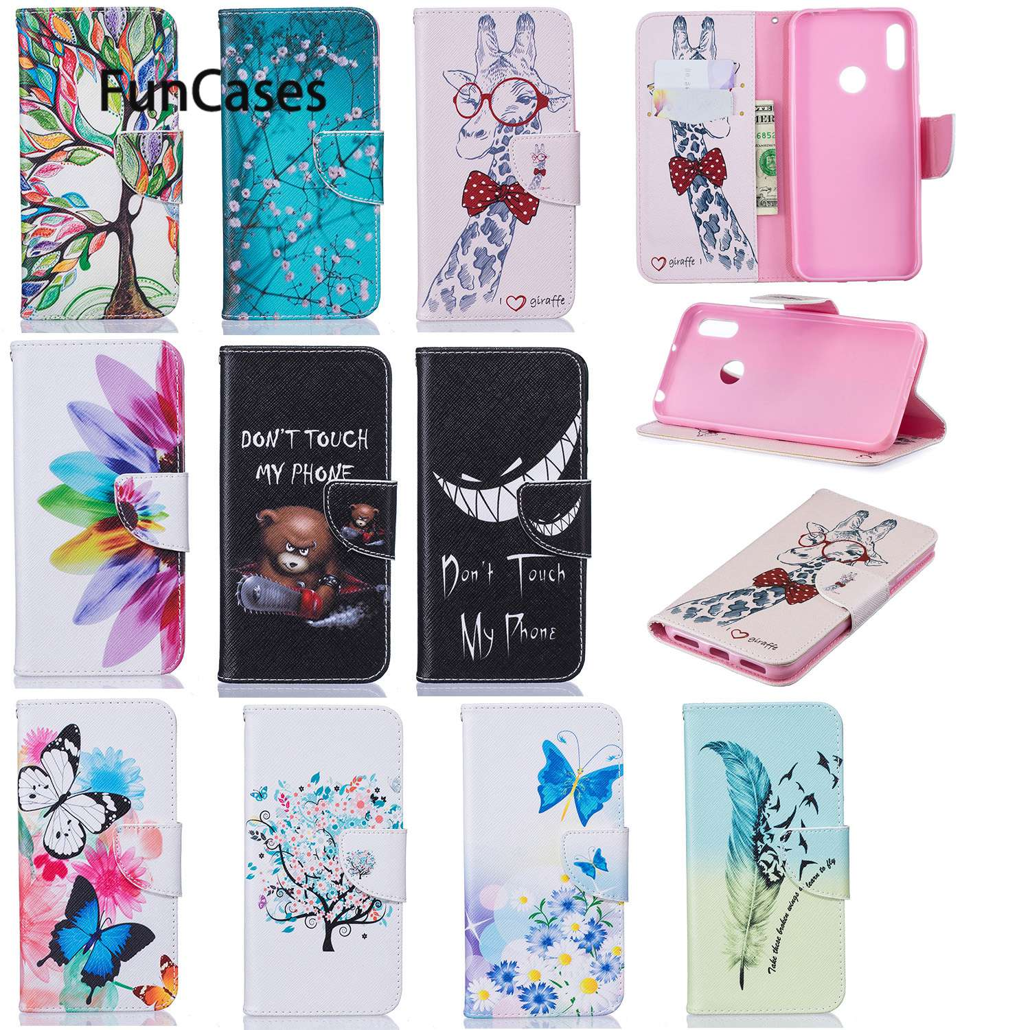 Flower Flip Cases For Huawei Y6 2019 Protector Huawei Honor 8A Play P