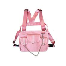 الهيب هوب الصدر حقيبة موضة ملابس الشارع الشهير تصميم سترة جيب الصدر حزام الملحقات وسيم
