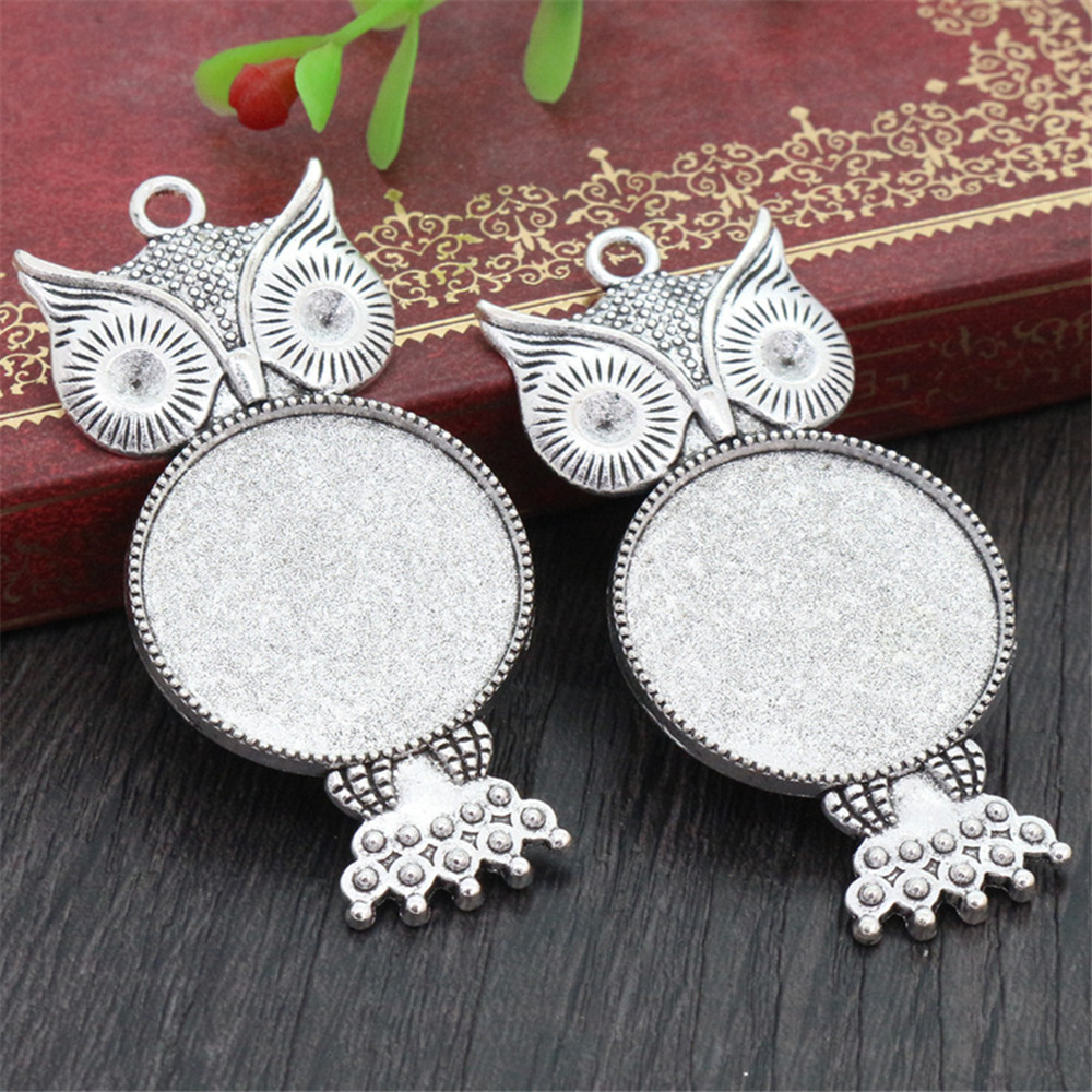 New Fashion 3pcs 25mm Inner Size Antique Silver Plated Owl Style Cabochon Base Setting Charms Pendant (A6-20)