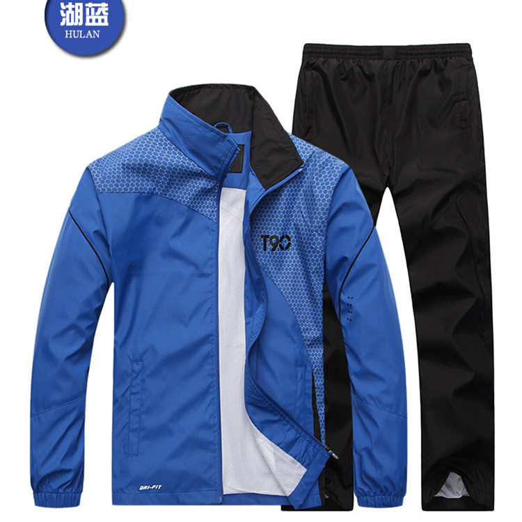 A236 Spring And Autumn Sports Set Men Running Sports Clothing Middle-aged Casual Outdoor Windproof Coat Loose And Plus-sized