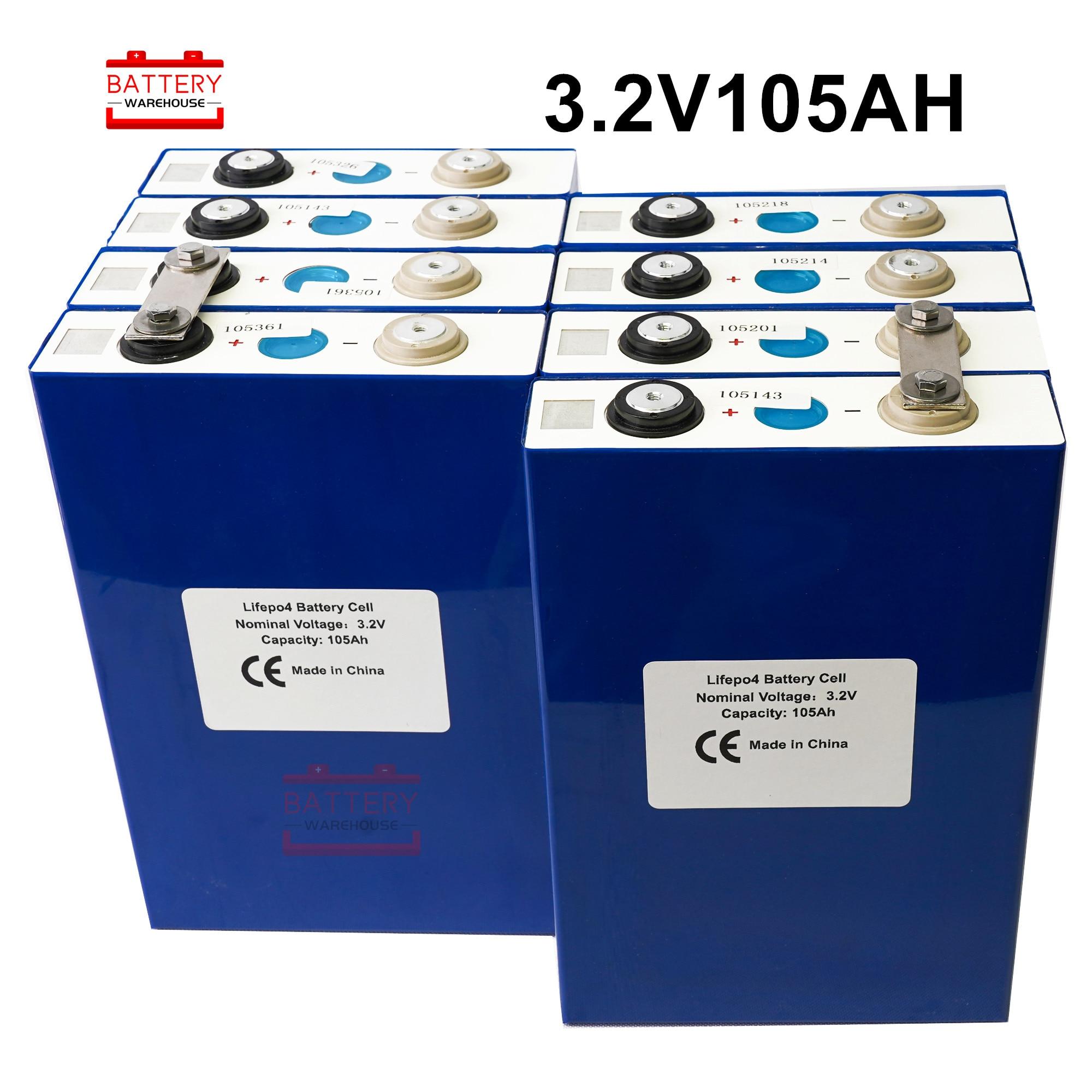 8 pièces 3.2v lifepo4 batterie 3.2v100Ah 105Ah lithium batterie nouveau magasin promotion for12V 24V stockage d'énergie solaire RV sans taxe