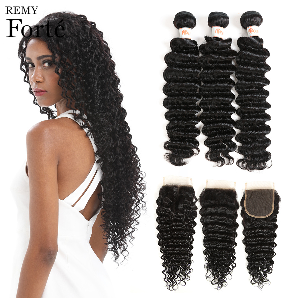 Remy Forte Deep Wave Bundles With Closure 8-30 Inch Hair Non Remy Brazilian Hair Weave Bundles 3/4 Curly Bundles With Closure
