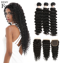 Remy Forte Deep Wave Bundles With Closure 8-30 Inch Hair Non Remy Brazilian Hair Weave Bundles 3/4 Curly Bundles With Closure remy forte straight hair bundles with closure pink bundles with closure brazilian hair weave bundles 3 4 colored hair bundles