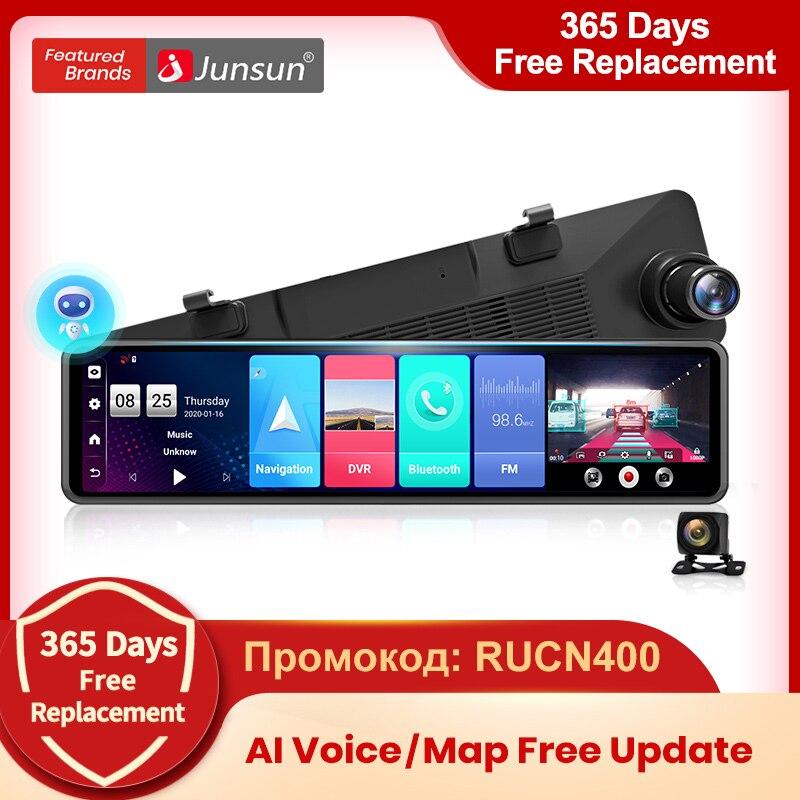 промокод: RUCN400 Junsun A103 ИИ Голосовое управление тройной экран 4G Android 8.1 wifi авто видеорегистратор зеркало заднего вида автомобильная зеркальная...