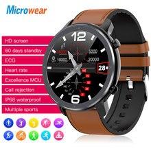 2020 جديد Microwear L11 ساعة ذكية تعمل باللمس تعقب معدل ضربات القلب ECG ضغط الدم دعوة تذكير بلوتوث IP68 Smartwatch