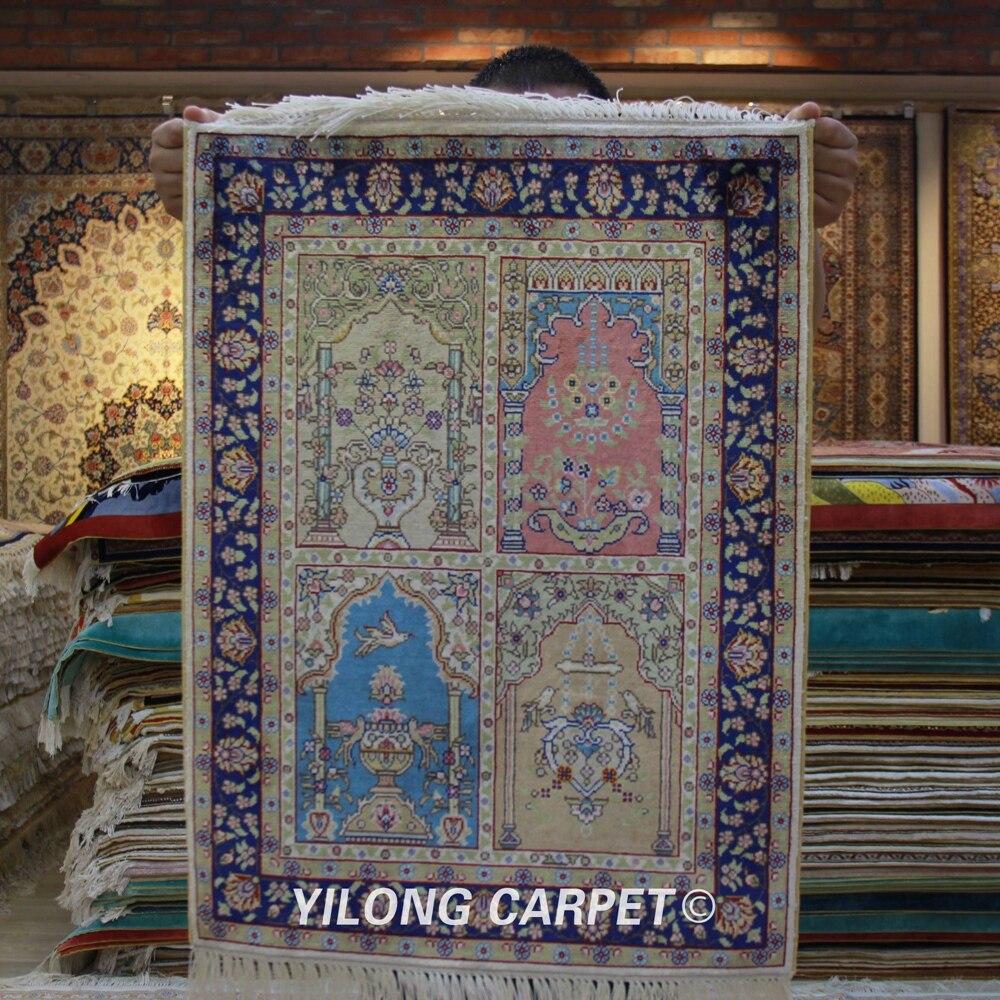 Yilong 1.5 'x2' fait à la main coloré soie tapisserie miniature petit mini tapis floral (ZQG290A)