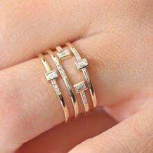 Ustar 4 ряда широкие кольца на палец для женщин кубический цирконий