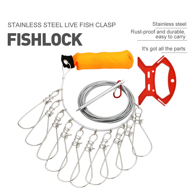 Fishing Lock Buckle Stainless Steel 5 Metres 5 Locks Chain Stringer With Float Live Fish Lock Belt Fishing Tackle Tool Accessory