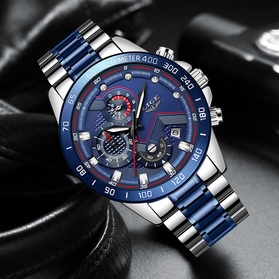H00a1e12f0c244e90b9737d747a4515b6B Relogio Masculino LIGE Hot Fashion Mens Watches Top Brand Luxury Wrist Watch Quartz Clock Blue Watch Men Waterproof Chronograph