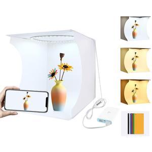Puluz 20cm anel led painel dobrável portátil luz de iluminação foto estúdio tiro tenda caixa kit softbox desktop estúdio softbox