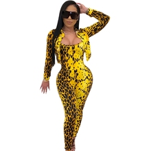 Women Leopard Print Sexy Bodycon Tracksuit 2 Piece Set Top