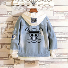 EEN STUK Luffy kostuums Mannen vrouwen EEN STUK Hoodies cartoon casual Jean jacket Ripped denim top in print Jassen Cosplay jas(China)