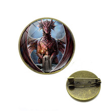 Pria Liontin Bros Vintage Logam Dragon Wing Cross Pedang Punk Rock Gothic Pin Yang Unik Desain Halloween Dropshipping(China)