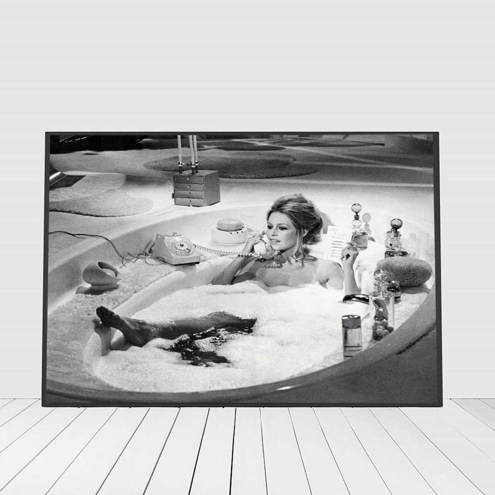 Brigitte Bardot Poster Canvas Art Print Vintage Photography Painting Black White Bathroom Picture Home Girls Room Wall Art Decor