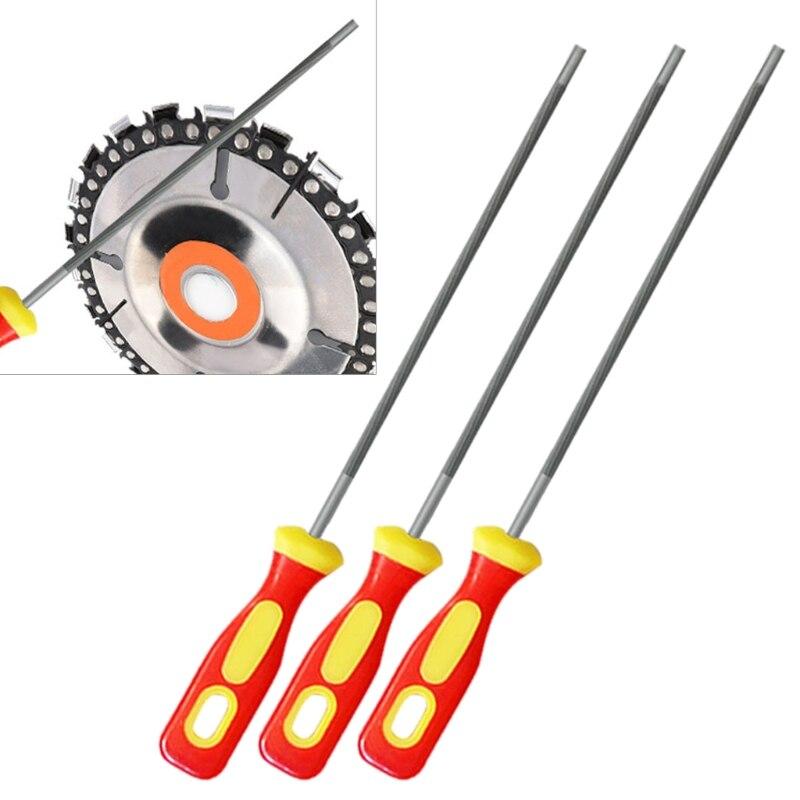 3 pièces rondes en acier à haute teneur en carbone affûtage scie à chaîne limes affûteuse R9CA