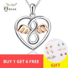 StrollGirl Infinite Love Angle Heart 925 Sterling Silver Chain Pendant Necklace Fashion Jewelry Necklaces & Pendants For Women цена в Москве и Питере