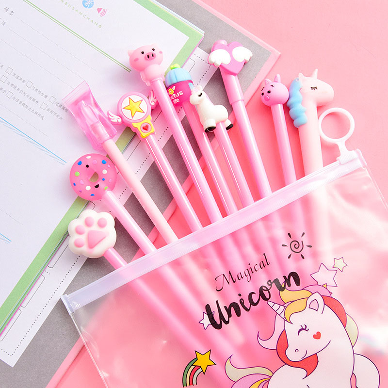 10Pcs Pens+1Bag Kawaii Unicorn Gel Pens Cute Cactus Pens For Girls Gifts School Office Supplies Korean Stationery