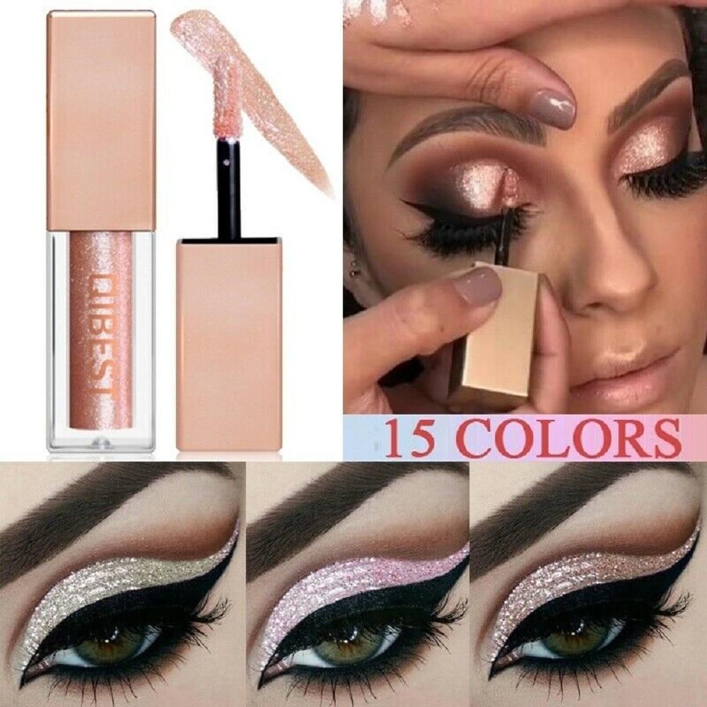 QiBest 15 цветов с изображениями искрящихся влажным блеском тени для век Водонепроницаемый Шиммер металлические легко наносить макияж професс...