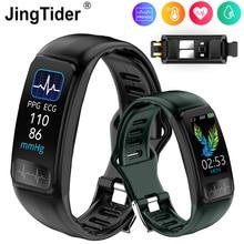 Jingtider P12 ECG PPG SPO2 Smart Band IP67 Waterproof Heart Rate Blood Pressure Oxygen Monitor Sport Bracelet Fitness Tracker