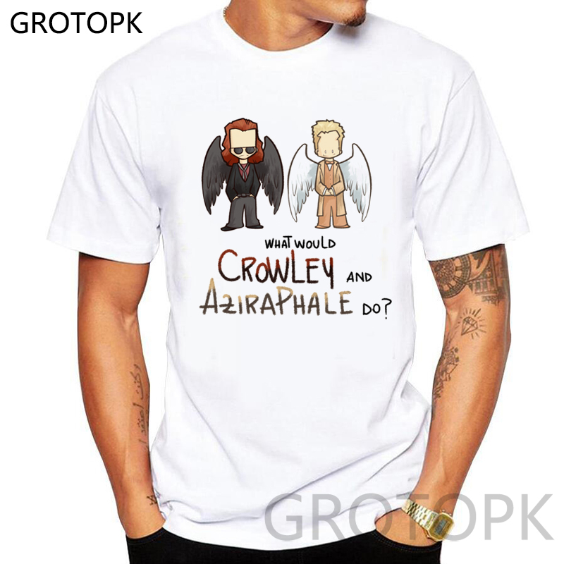 What Would Crowley And Aziraphale Do Prints Man's T-shirt Best Friend Harajuku White T Shirt Men Clothing Streetwear