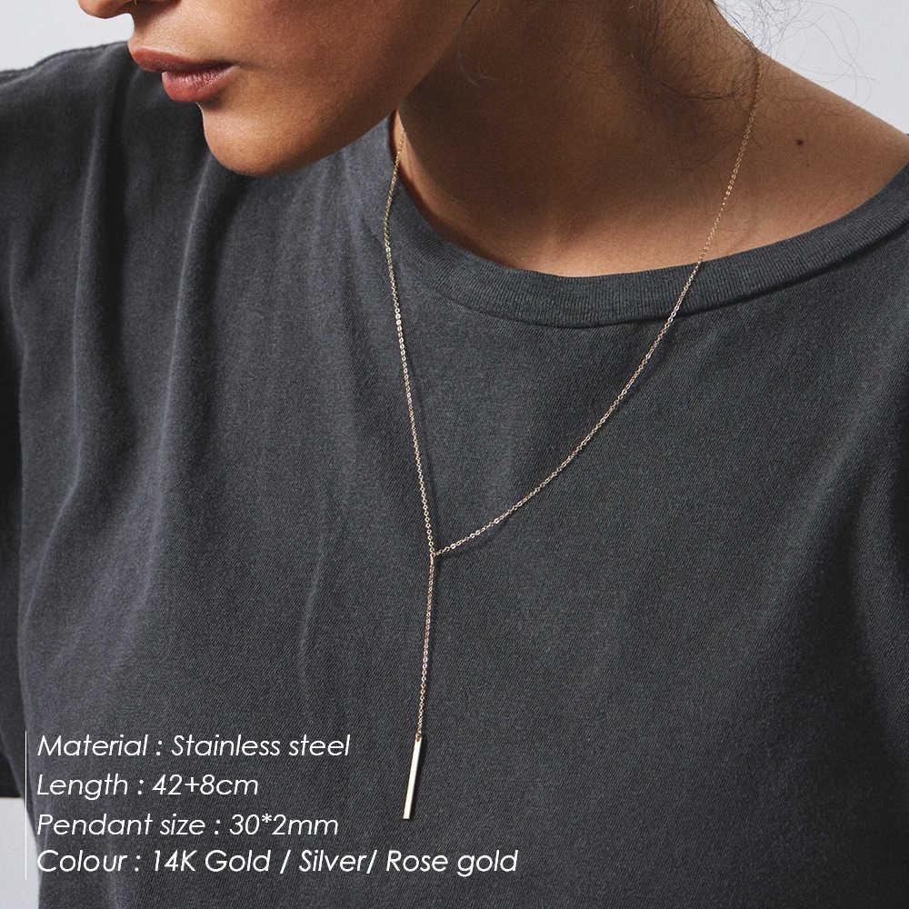 טבעת אצבע 316L נירוסטה שרשרת נשים ארוך רב שכבתי שרשרת לנשים תליון קולר שרשרת תכשיטים אופנתיים