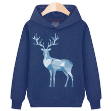 Kids Hoodies Sweatshirt Boys Girls Children Teenage Tops Clothing Clothes Autumn Spring Print Deer Cotton Blue Color Long Sleeve