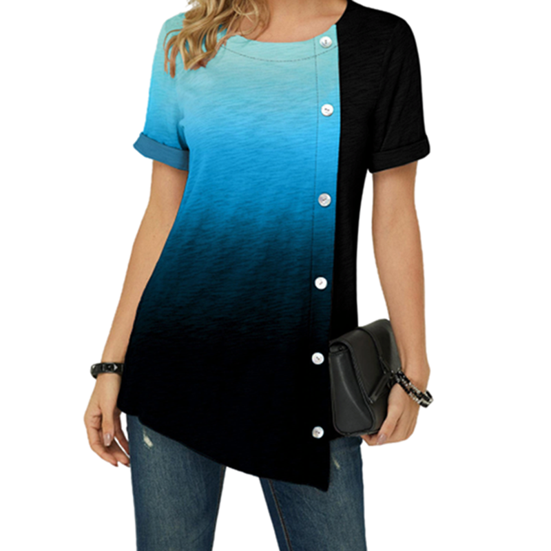 S 5XL Plus Size Women Gradient T shirt Summer 2020 Casual Short...