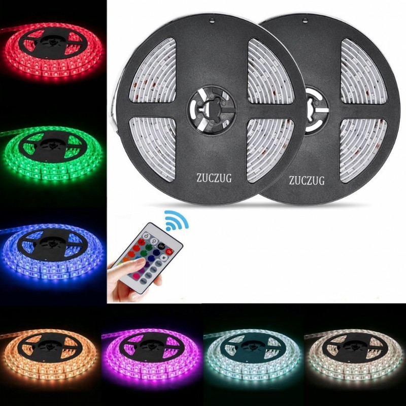 USB Powered 5V RGB LED Strip Light 60leds/m 3528 SMD Non-Waterproof Tape For TV Background Lighting