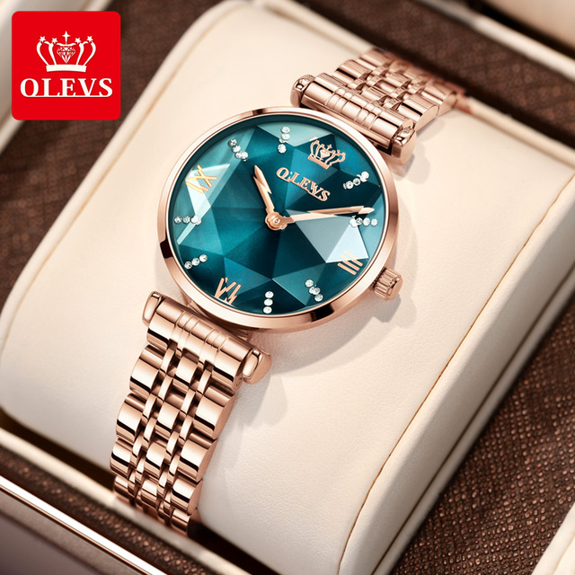 OLEVS New Women Luxury Jewel Quartz Watch Waterproof Stainless Steel Strap Watch For Women Fashion Date Clock 1