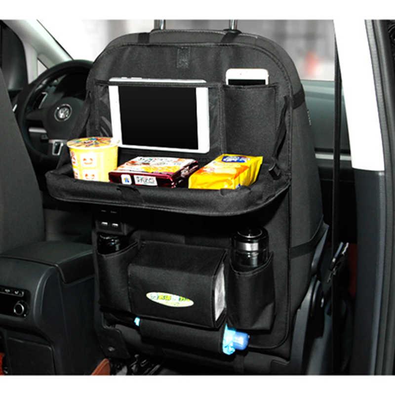 Multi Car Back Seat Organizer Pockets Foldable Tray With 4 Usb