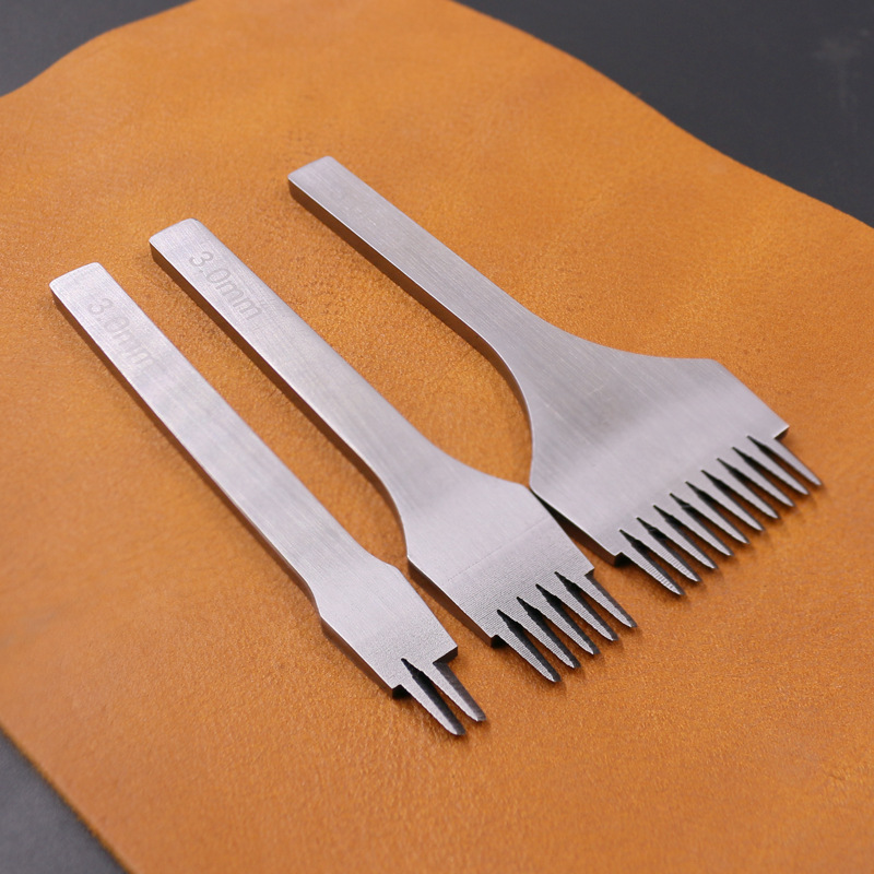 DIY Leather Punched Threading Tool Method Cut European Style Cut Stitching Chisel Fine 2.7 3.0 3.38 3.85