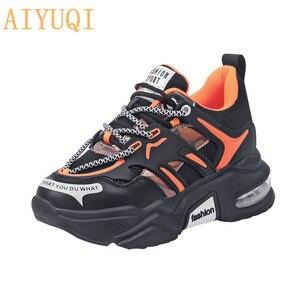 Image 1 - Aiyuqi mulheres sapatos casuais 2020 outono novas sapatilhas de couro genuíno selvagem moda casual correndo sapatos planos femininos