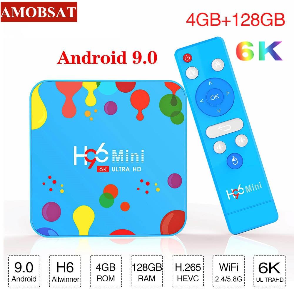 AmobSat 4 Гб 128 ГБ H96 Мини Android 9,0 tv Box Allwinner H6 четырехъядерный 6K H.265 Wifi HD проигрыватель google Youtube телеприставка 4GB32GB