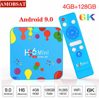 AmobSat 4GB 128GB H96 Mini Android 9.0 TV Box Allwinner H6 Quad Core 6K H.265 Wifi HD Google Player Youtube Set top box 4GB32GB
