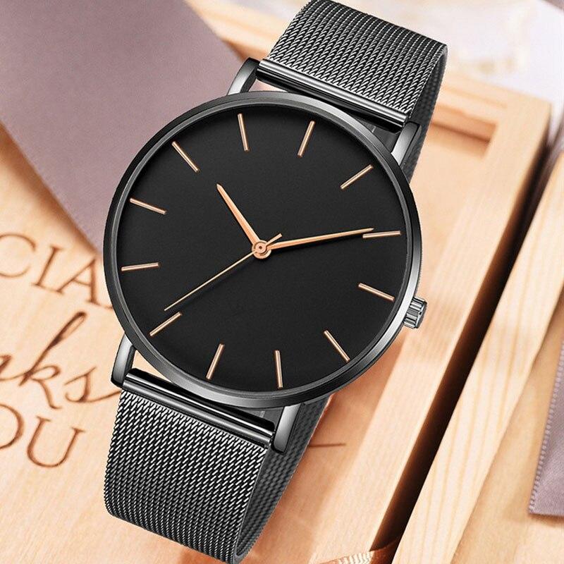 2019 Women Watches Luxury Watch Men Mesh Ultra-thin Stainless Steel Quartz Wrist Watch Men Clock Reloj Hombre Relogio Masculino
