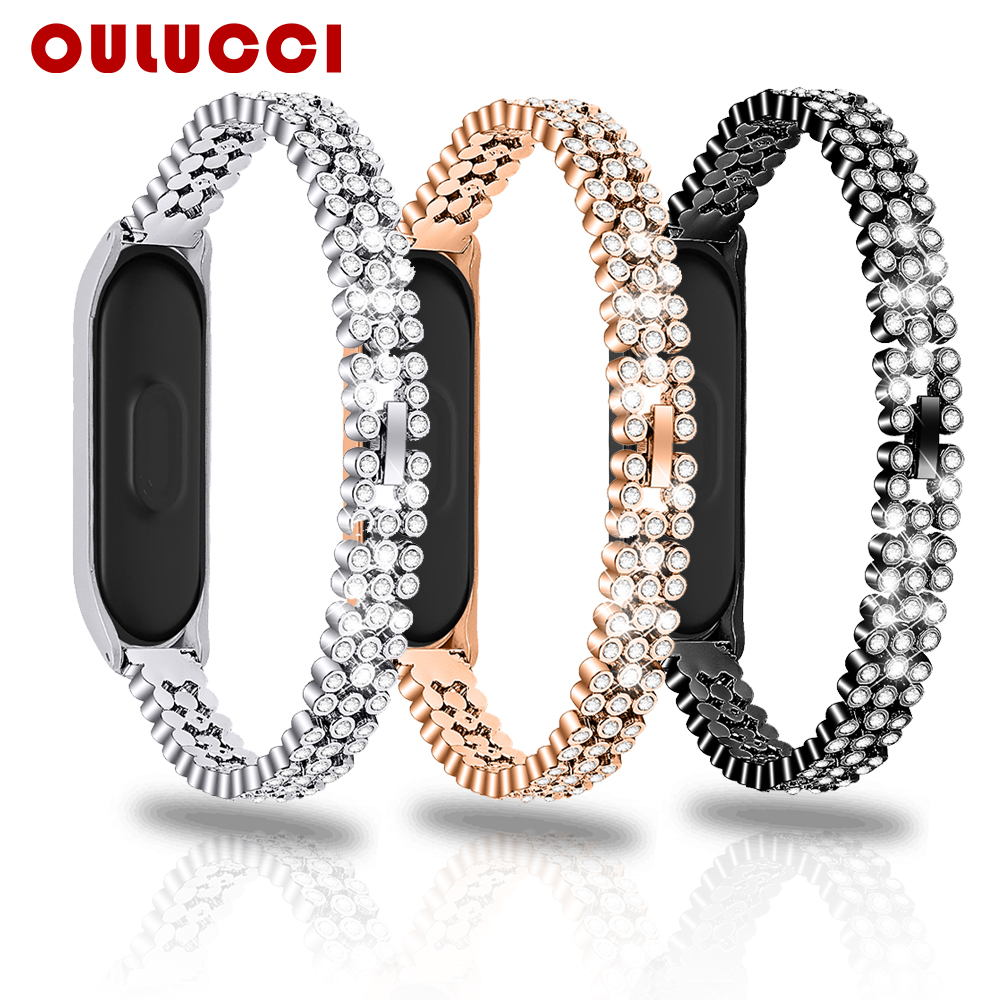 Oulucci Fashion Stainless Steel For Xiaomi 3/4 Watch Band Replacement Strap Bracelet Band Rose Gold Women For Mi Band 4 Strap