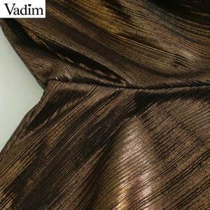 Image 4 - Vadim נשים מוצק בסיסי midi שמלת שלוש רובע שרוול נקבה מקרית ללבוש אופנתי שיק קו שמלות vestidos QD137